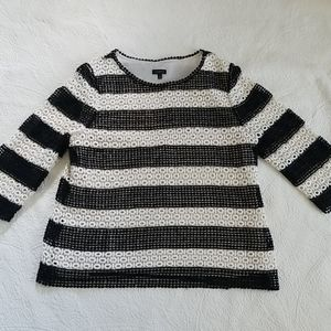 Talbots Crocheted Striped Black and White Top
